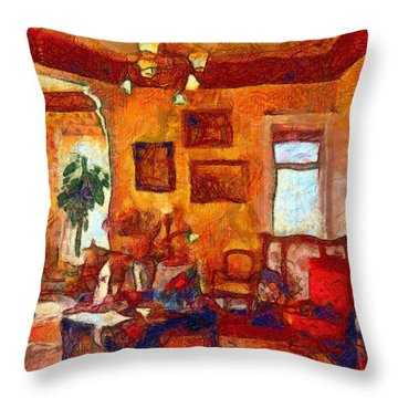 Throw Pillow featuring the painting Van Gogh's Guest Chamber by Mario Carini