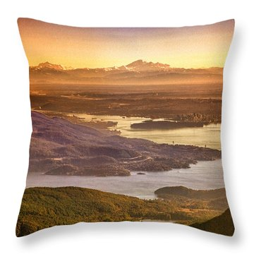 Vancouver And Mt Baker Aerial View Throw Pillow by Eti Reid