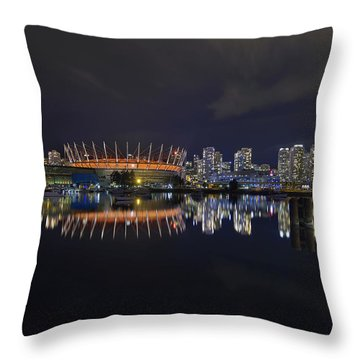 Vancouver Bc Canada City Skyline By False Creek At Night Throw Pillow by David Gn