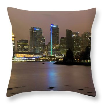 Vancouver Bc City Skyline At Night Throw Pillow by David Gn