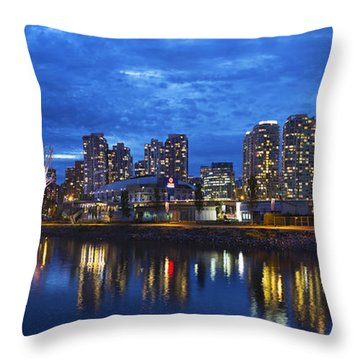 Vancouver Bc City Skyline With Bc Place At Blue Hour Throw Pillow by David Gn