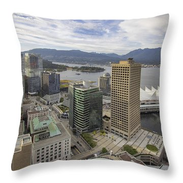 Vancouver Bc City With Stanley Park View Throw Pillow
