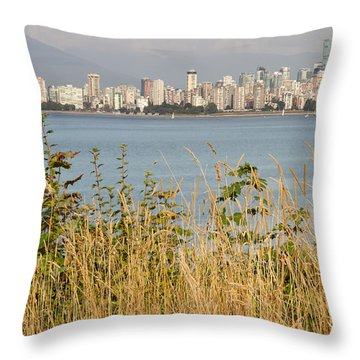 Throw Pillow featuring the photograph Vancouver Bc Downtown From Hasting Mills Park by JPLDesigns