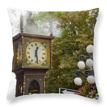 Throw Pillow featuring the photograph Vancouver Bc Historic Gastown Steam Clock by JPLDesigns