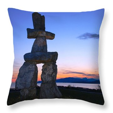 Vancouver Bc Inukshuk Sculpture Throw Pillow