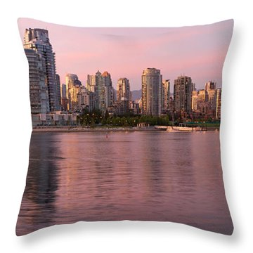 Throw Pillow featuring the photograph Vancouver Bc Skyline Along False Creek At Dusk by JPLDesigns