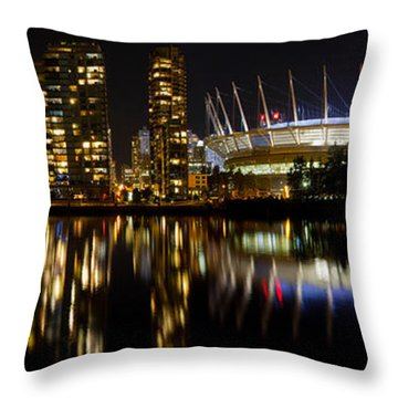 Throw Pillow featuring the photograph Vancouver Bc Skyline Along False Creek At Night by JPLDesigns
