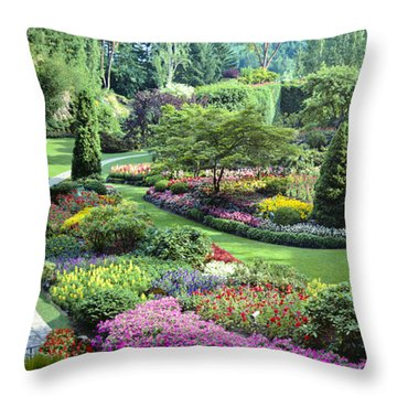Vancouver Butchart Sunken Gardens Beautiful Flowers No People Panorama Throw Pillow by David Zanzinger