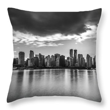 Vancouver City In Black And White Throw Pillow