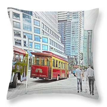 Vancouver Sightseeing Throw Pillow by Carol Cottrell