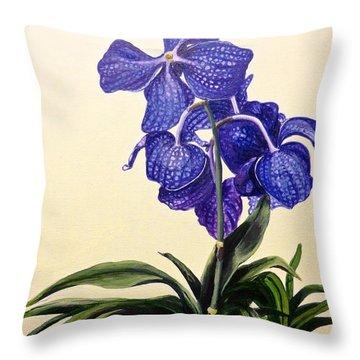 Vanda Sausai Blue Orchid Throw Pillow