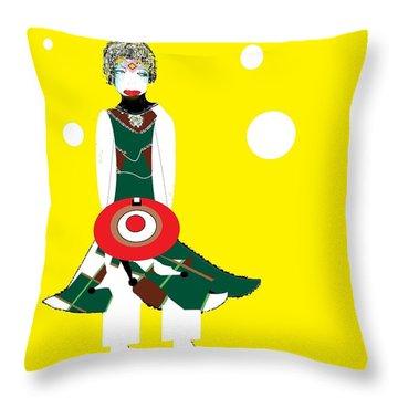 Throw Pillow featuring the digital art Vanguard Girl by Ann Calvo
