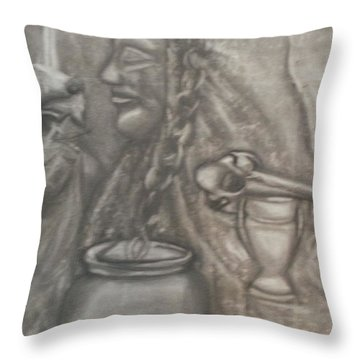 Throw Pillow featuring the drawing Vanitas In Black And White by Thomasina Durkay