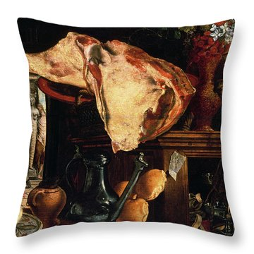 Vanitas Still Life Throw Pillow by Pieter Aertsen