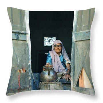 Varanasi Water Seller Throw Pillow