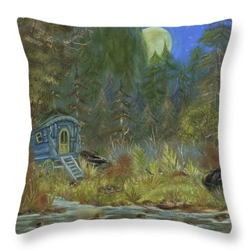 Throw Pillow featuring the painting Vardo Dream by The GYPSY And DEBBIE