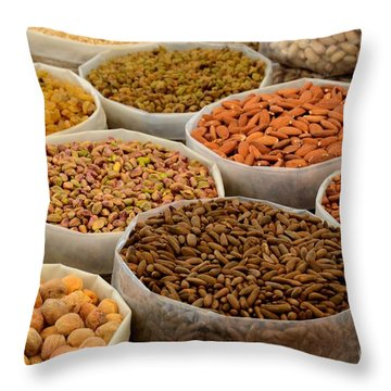 Variety Of Raw Nuts For Sale At Outdoor Street Market Karachi Pakistan Throw Pillow