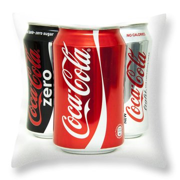 Various Coke Cola Cans Throw Pillow by Antony McAulay