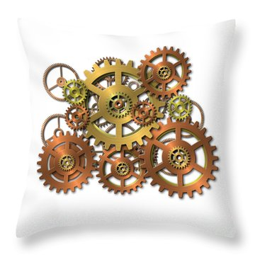 Various Gears Throw Pillow by Michal Boubin