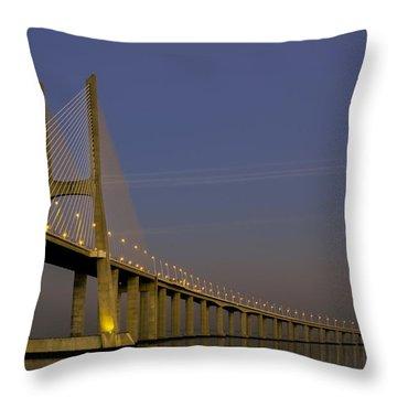 Vasco Da Gama Bridge In The Moonlight Throw Pillow