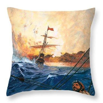 Vasco Da Gama's Ships Rounding The Cape Throw Pillow by English School
