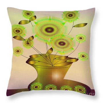Vase And Flowers Throw Pillow by Iris Gelbart