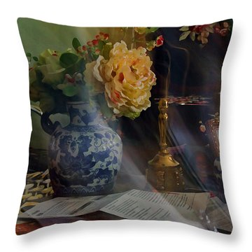 Throw Pillow featuring the photograph Blue Vase And Flowers  by Ola Allen