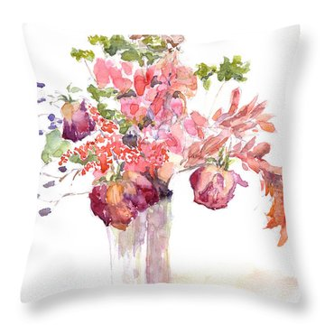 Vase Of Dried Flowers Throw Pillow