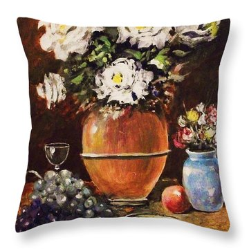 Throw Pillow featuring the painting Vase Of Flowers And Fruit by Al Brown