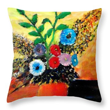 Vase Of Flowers Throw Pillow by Mauro Beniamino Muggianu