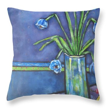 Vase With Blue Flowers And Cherries Throw Pillow by Chaline Ouellet