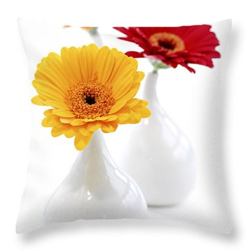 Vases With Gerbera Flowers Throw Pillow