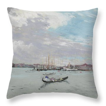 Vast Lagoon Outside Venice Circa 1901 Throw Pillow by Aged Pixel