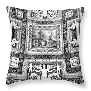 Vatican Museum Gallery Of Maps Black And White Throw Pillow