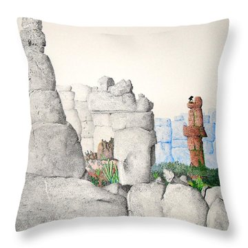 Throw Pillow featuring the painting Vaulting by A  Robert Malcom