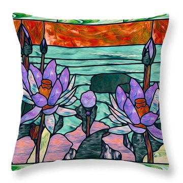 Vector Illustration Of Flower Sunflower In Stained Glass Window  Throw Pillow by Lanjee Chee