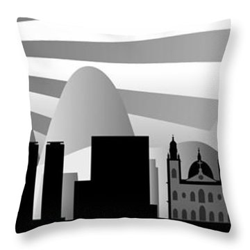 vector Rio skyline with ball Throw Pillow by Michal Boubin