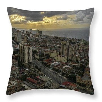 Vedado Havana City Sunset Throw Pillow