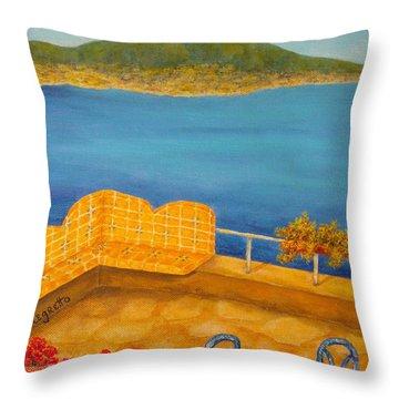 Veduta Di Vesuvio Throw Pillow by Pamela Allegretto