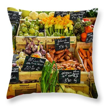 Veg At Marche Provencal Throw Pillow by Allen Sheffield