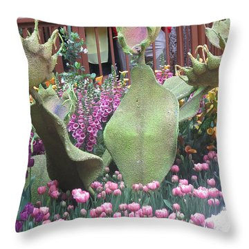 Throw Pillow featuring the photograph Vegas Butterfly Garden Flowers Cactus Romanti Interior Decorations by Navin Joshi