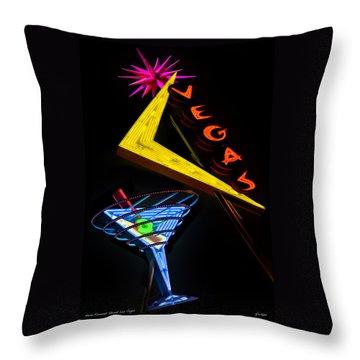 Vegas Martini Throw Pillow by Gary Warnimont