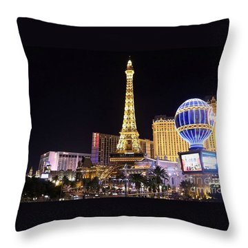 Throw Pillow featuring the photograph Vegas Paris Hotel Skyline by Kevin Ashley