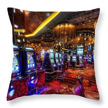 Vegas Slot Machines Throw Pillow by Yhun Suarez