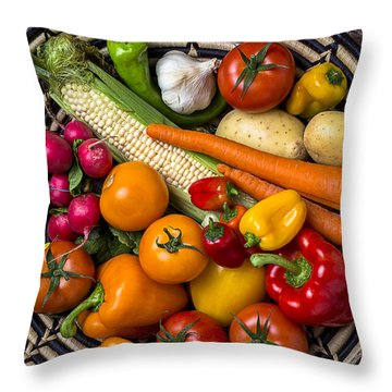 Vegetable Basket    Throw Pillow by Garry Gay