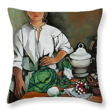 Vegetable Lady Wall Art Throw Pillow