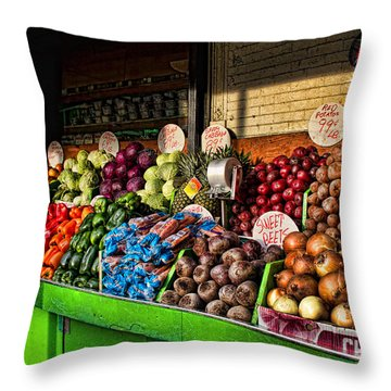 Greenwich Village Market Throw Pillow