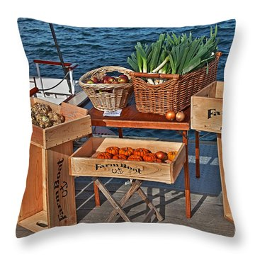 Vegetables At Floating Farmer's Market Throw Pillow by Valerie Garner