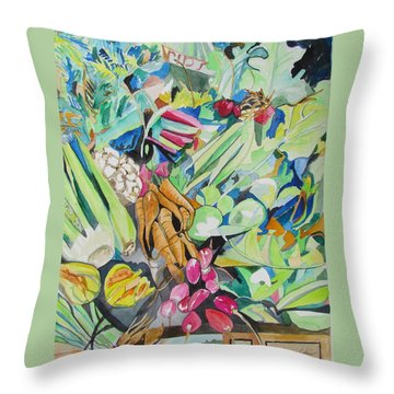 Vegetables At The Jerusalem Market Throw Pillow by Esther Newman-Cohen