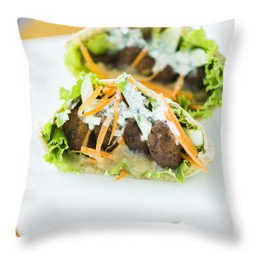 Vegetarian Falafel In Pita Bread Sandwich Throw Pillow